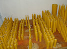 Pure beeswax candles made from the wax plates...