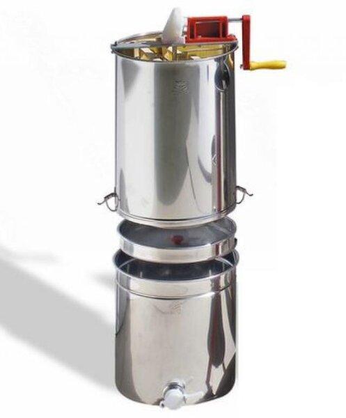 Honigschleuder für vier Waben mit Handantrieb zum Aufsetzen auf Honigbehälter mit Honigsieb
