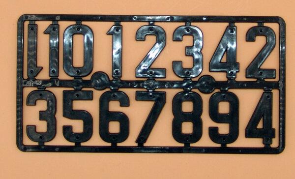 Nummer 0 bis 9 schwarze Ziffer zur Kennzeichnung von Gegenständen mit zwei Nagellöschern